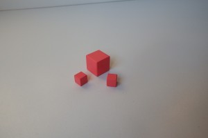 Spare pink tower cubes ( 2 cm and 1 cm cubes)