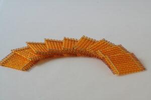 9 golden bead squares