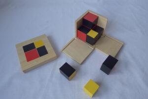 Algebraic Binomial Cube(Beech wood cube)