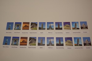 Famous buildings matching cards