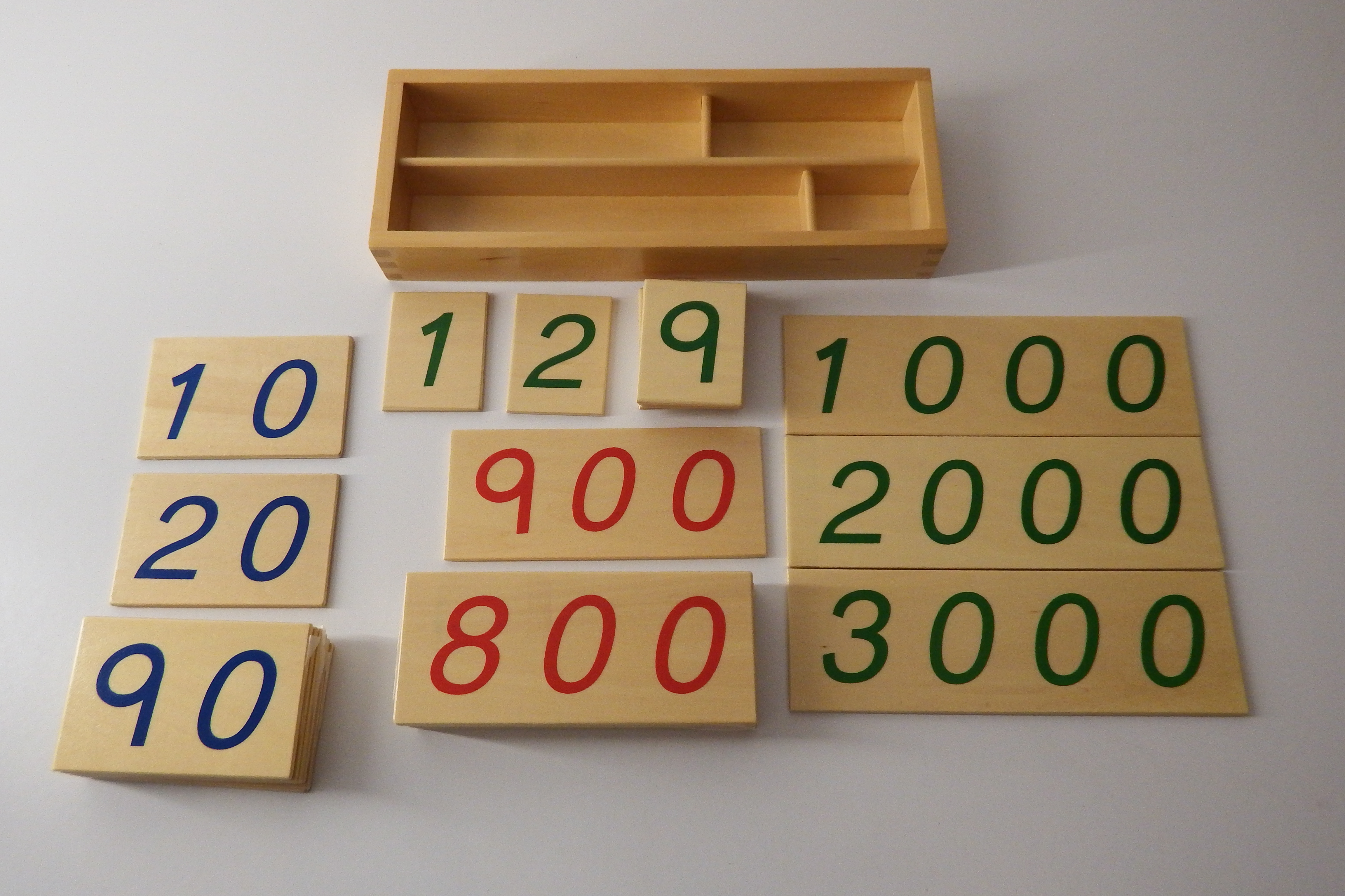 Montessori Small Wooden Number Cards 1-3000